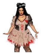 Voodoo-Puppenkostüm für Damen in Übergröße braun-schwarz-rot