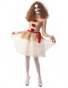 Geister-Clown-Kostüm für Damen beige-weiss