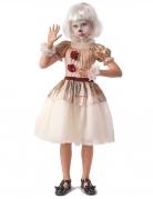 Geister-Clown-Kostüm für Mädchen beige-weiss
