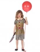 Schauriges Halloween-Clown-Kostüm für Mädchen rot-grau-weiß