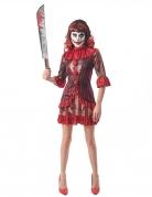 Unheimliches Horrorclown-Damenkostüm rot-schwarz-braun