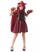 Werwolfs-Rotkäppchen Mädchenkostüm rot-schwarz-braun