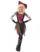 Tätowierte Piratenbraut Damenkostüm für Halloween bunt