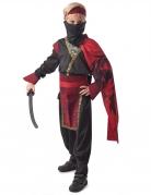 Verwegenes Ninja-Kostüm für Kinder Halloween schwarz-rot