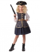 Todschickes Seeräuber-Kostüm für Mädchen blau-weiß-gold