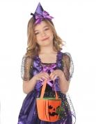Gruselige Kürbistasche für Kinder Halloween-Accessoire orangefarben-schwarz-grün