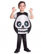 Lustige Skelett-Tunika für Kinder Halloween-Kostüm schwarz-weiss