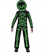 Leuchtendes Skelett-Kostüm für Kinder Halloweenkostüm schwarz-grün