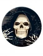 Kleine Sensenmann-Pappteller Skelett Halloween 6 Stück schwarz-weiss 18 cm