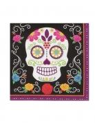 Sugar-Skull-Servietten Tag der Toten 20 Stück schwarz-bunt 17 x 17 cm