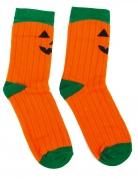 Kürbis-Socken für Erwachsene Halloween orange-grün