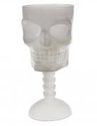 Nachtleuchtender Schädel-Kelch Totenkopf-Becher weiss 18 cm