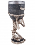 Skelett-Kelch Halloween beige-grau 18 cm
