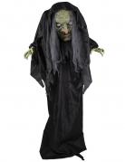 Schaurige Horrornonne animierte Halloween-Dekofigur schwarz-weiß-grau 205 cm