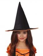 Eleganter Hexenhut für Kinder schwarz-orangefarben