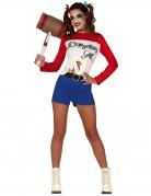 Superschurkin Damenkostüm Halloweenkostüm weiss-blau-rot