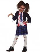 Zerfetztes Zombie-Schülerinnen Kostüm für Mädchen schwarz-weiß-blau