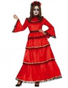 Elegantes Dia de los Muertos Damenkostüm rot-schwarz-goldfarben