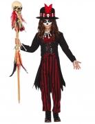 Voodoo-Zauberer-Kostüm für Mädchen schwarz-rot
