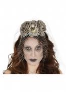 Totenkopf Diadem mit Schleier für Erwachsene grau