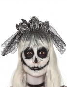 Halloween-Haarreif Grabstein-Schleier grau-schwarz