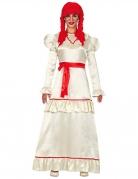 Horrorpuppe Kostüm für Damen weiss rot
