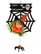 Halloween-Türdeko Hexe mit Spinne 50 cm