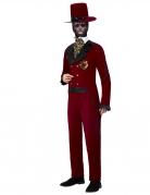 Dia de los Muertos Bräutigam-Kostüm rot-schwarz