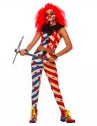 Horror-Clown Clown Kostüm für Erwachsene blau rot weiss