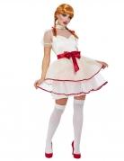 Puppen-Kostüm für Damen Halloween weiß-rot