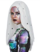 Alien-Perücke Sternen-Hexe weiß silber