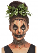 Kürbis Make-up-Set mit Blätter-Haarschmuck orange-schwarz-grün