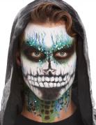 Außergewöhnliches Skelett-Make-up schwarz-weiß-blau