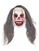 Halloween-Clown-Maske mit Haaren weiss-braun-rot