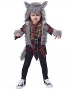 Wildes Werwolf-Kostüm für Kinder 5-teilig Halloween grau-rot-schwarz
