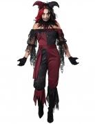 Sexy Horror-Clown-Kostüm für Damen Halloween rot-schwarz