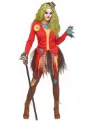 Verrückter Horrorclown Halloween-Damenkostüm bunt