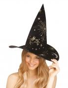 Kosmischer Hexenhut Halloween-Accessoire schwarz-gold-silberfarben