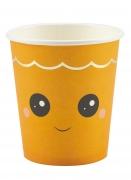 Niedliche Kürbis-Becher mit Gesicht 8 Stück orange 200 ml