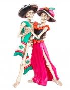 Skelett-Figur tanzendes Paar Dia-de-los-Muertos-Deko bunt 30 cm