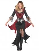 Sexy Barock-Vampirkostüm für Damen Halloween schwarz-rot-silberfarben