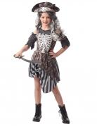 Gefürchtete Geisterpiratin Mädchenkostüm Halloween schwarz-weiß-grau