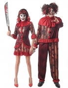 Blutiger Clown, Horor-Clown, Erwachsenen Paar-Kostüm