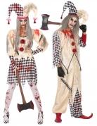 Furchteinflössendes Harlekin-Paarkostüm Horrorclown-Halloweenkostüm beige-schwarz-weiss-rot