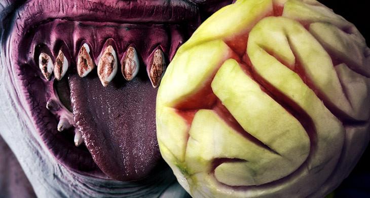 Halloween Buffet: Melone wird Gehirn
